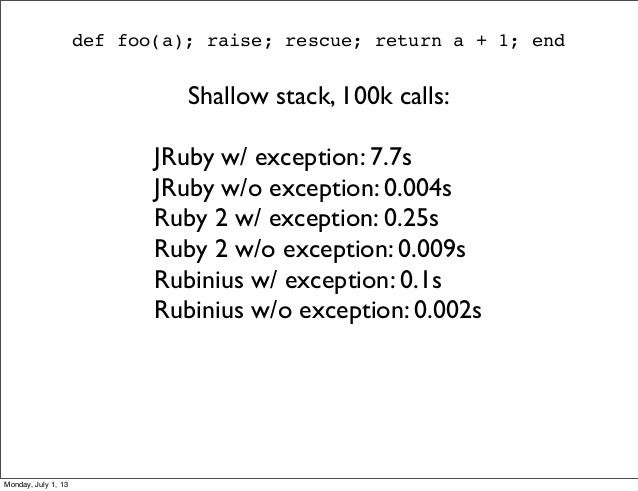 def foo(a); raise; rescue; return a + 1; end Shallow stack, 100k calls: JRuby w/ exception: 7.7s JRuby w/o exception: 0.00...