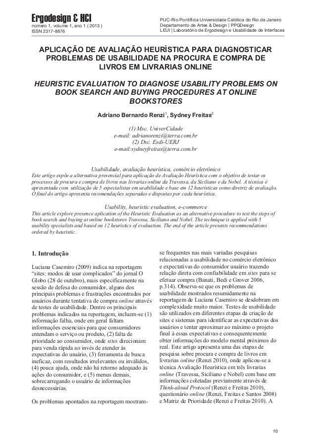 APLICAÇÃO DE AVALIAÇÃO HEURÍSTICA PARA DIAGNOSTICAR PROBLEMAS DE USABILIDADE NA PROCURA E COMPRA DE LIVROS EM LIVRARIAS ON...