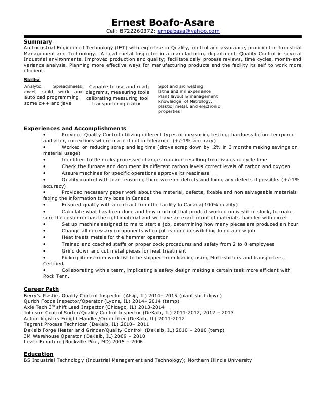 Industrial engineer resume summary