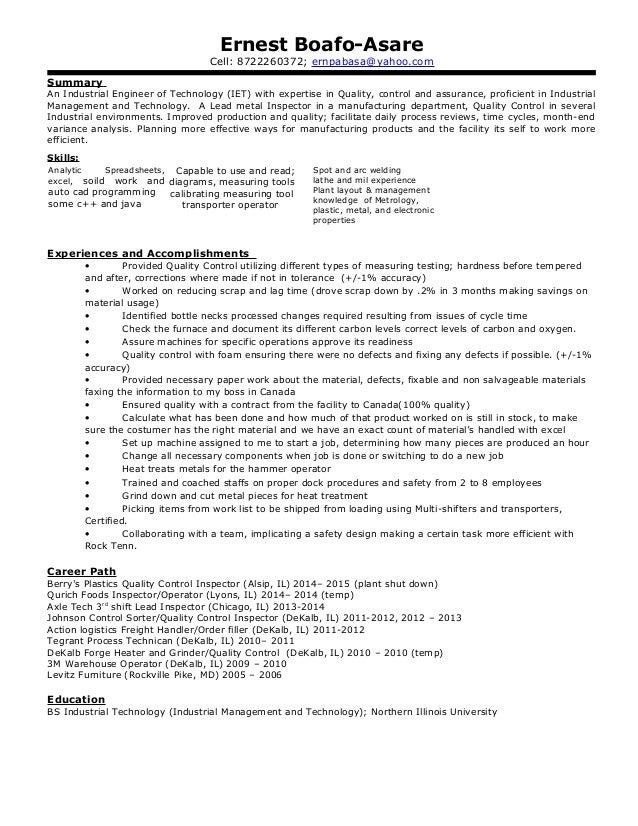 Industrial engineer resume summary