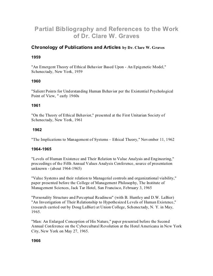 Partial Bibliography and References to the Work               of Dr. Clare W. GravesChronology of Publications and Article...