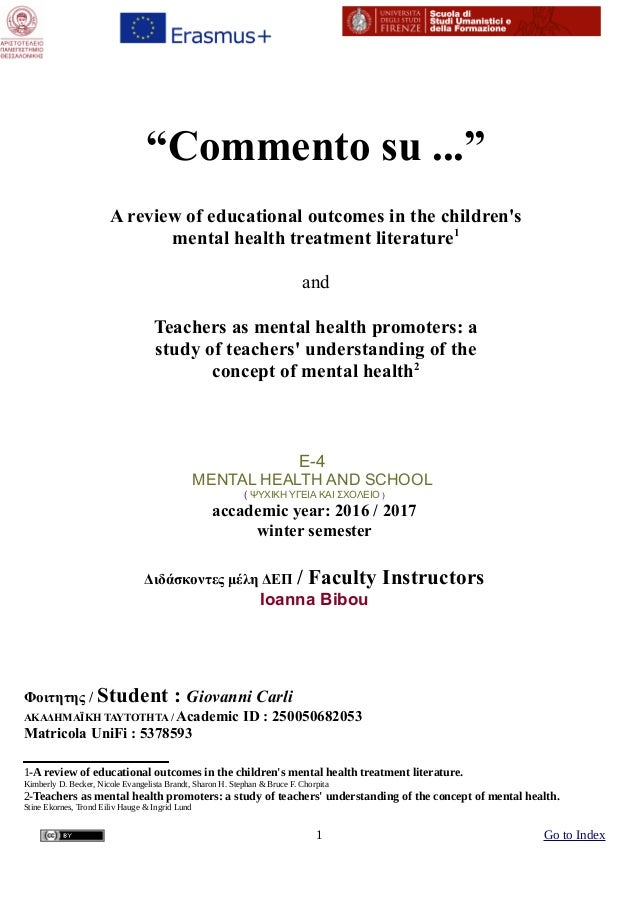 """Commento su ...ˮ A review of educational outcomes in the children's mental health treatment literature1 and Teachers as m..."