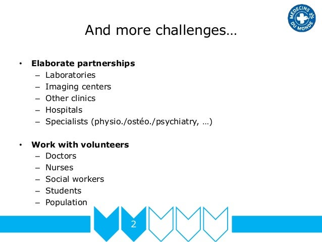 And more challenges… 2 • Elaborate partnerships – Laboratories – Imaging centers – Other clinics – Hospitals – Specialists...