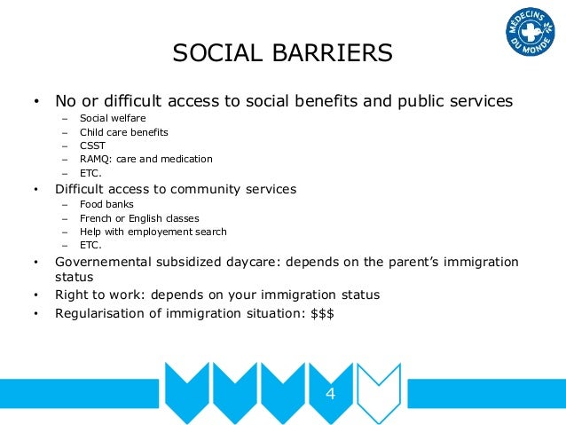 SOCIAL BARRIERS • No or difficult access to social benefits and public services – Social welfare – Child care benefits – C...