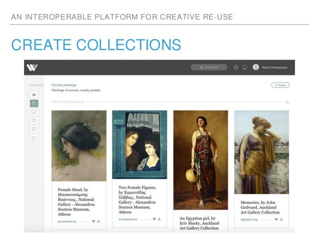 AN INTEROPERABLE PLATFORM FOR CREATIVE RE-USE CREATE COLLECTIONS