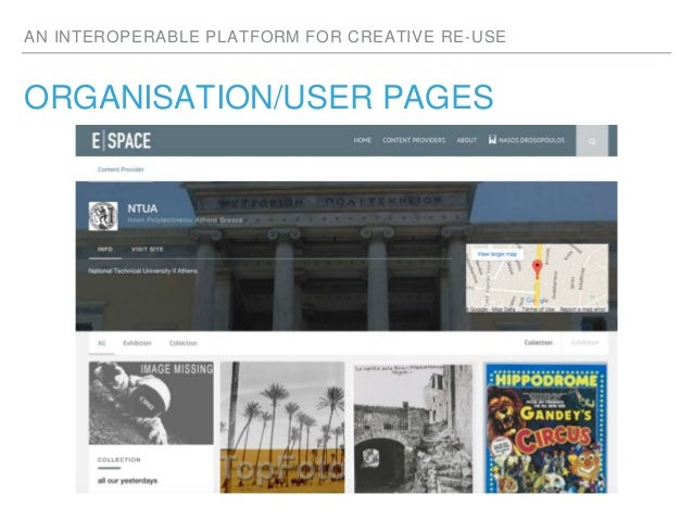 AN INTEROPERABLE PLATFORM FOR CREATIVE RE-USE ORGANISATION/USER PAGES