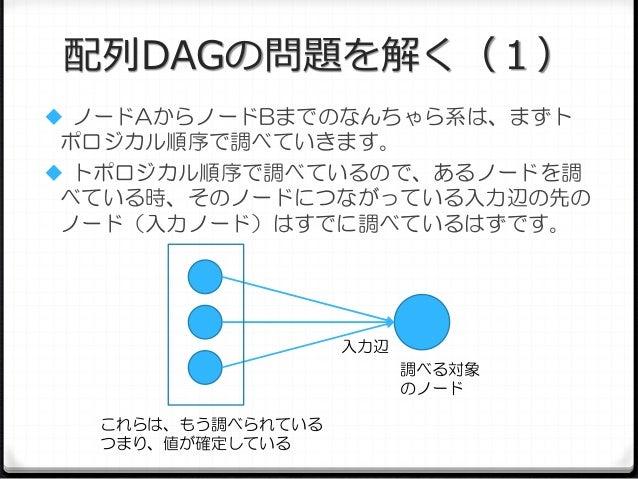 配列DAGの問題を解く(1)  ノードAからノードBまでのなんちゃら系は、まずト  ポロジカル順序で調べていきます。  トポロジカル順序で調べているので、あるノードを調 べている時、そのノードにつながっている入力辺の先の ノード(入力ノード...