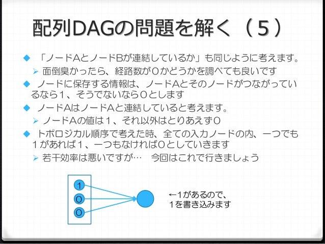 配列DAGの問題を解く(5)  「ノードAとノードBが連結しているか」も同じように考えます。  面倒臭かったら、経路数が0かどうかを調べても良いです  ノードに保存する情報は、ノードAとそのノードがつながってい  るなら1、そうでないなら...