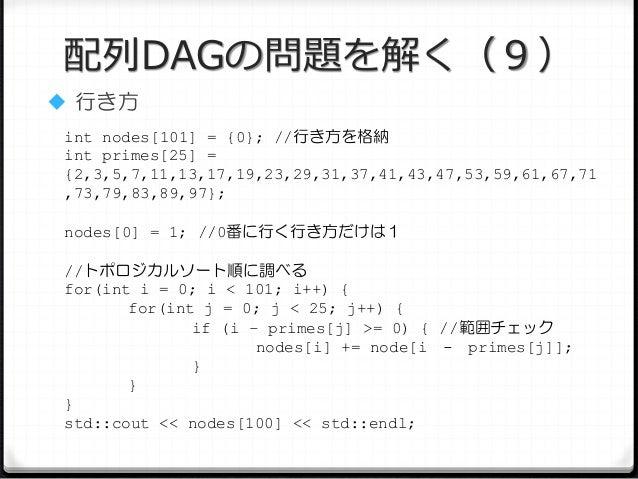 配列DAGの問題を解く(9)  行き方 int nodes[101] = {0}; //行き方を格納 int primes[25] = {2,3,5,7,11,13,17,19,23,29,31,37,41,43,47,53,59,61,67...