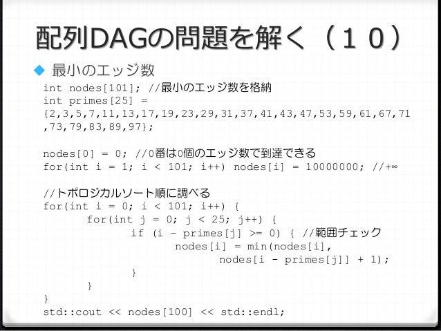 配列DAGの問題を解く(10)  最小のエッジ数 int nodes[101]; //最小のエッジ数を格納 int primes[25] = {2,3,5,7,11,13,17,19,23,29,31,37,41,43,47,53,59,61...