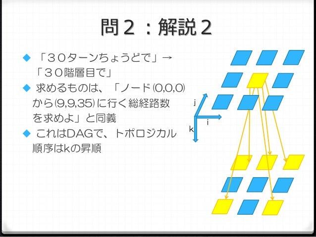問2:解説2  「30ターンちょうどで」→  「30階層目で」  求めるものは、「ノード(0,0,0) j から(9,9,35)に行く総経路数 を求めよ」と同義 k  これはDAGで、トポロジカル 順序はkの昇順  i