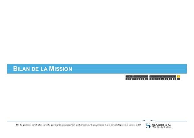 BILAN DE LA MISSION 24 / BILAN DE LA MISSION 1 2 1 2 3 4 5 1 2 3 4321 6 7 4 La gestion de portefeuille de projets, quelles...