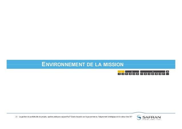 ENVIRONNEMENT DE LA MISSION 2 / ENVIRONNEMENT DE LA MISSION 1 2 1 2 3 4 5 1 2 3 4321 6 7 4 La gestion de portefeuille de p...