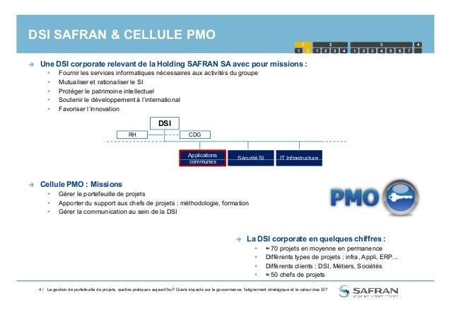 DSI SAFRAN & CELLULE PMO  Une DSI corporate relevant de la Holding SAFRAN SA avec pour missions :  Fournir les services ...