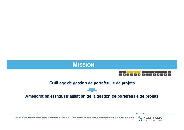 MISSION 5 / MISSION 1 2 1 2 3 4 5 1 2 3 4321 6 7 4 La gestion de portefeuille de projets, quelles pratiques aujourd'hui? Q...