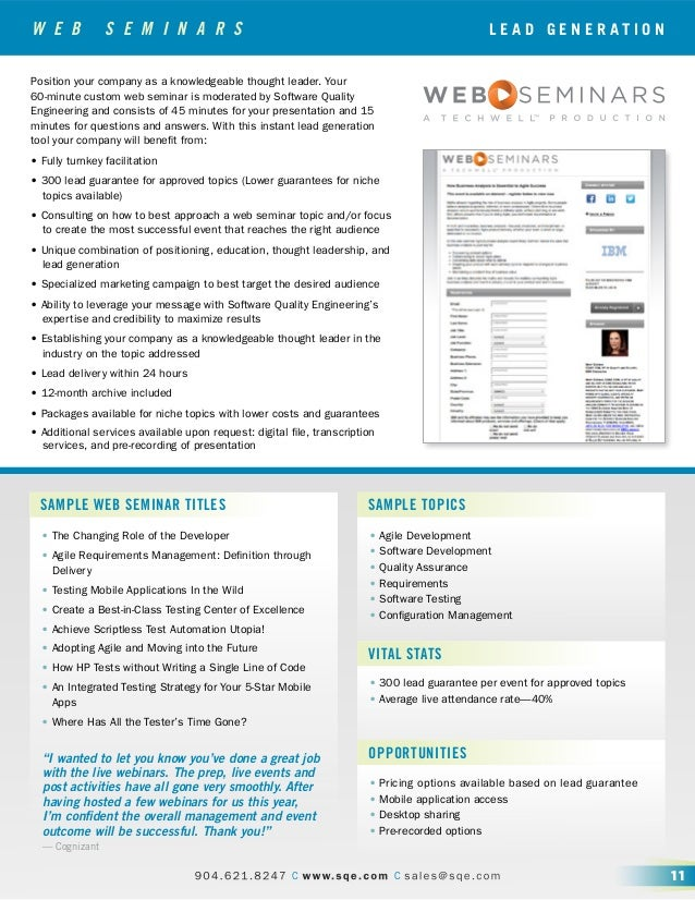 W E B S E M I N A R S SAMPLE WEB SEMINAR TITLES SAMPLE TOPICS VITAL STATS OPPORTUNITIES • The Changing Role of the Develop...