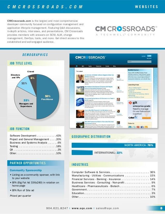 C M C R O S S R O A D S . C O M DEMOGRAPHICS Software Development.  .  .  .  .  .  .  .  .  .  .  . 43% Project and Genera...