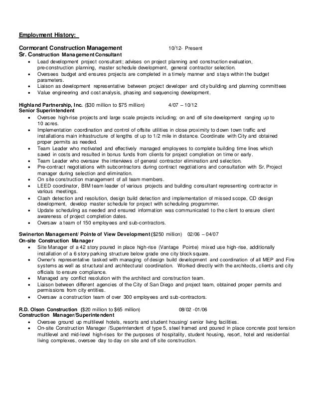 2 employment history cormorant construction - General Contractor Resume