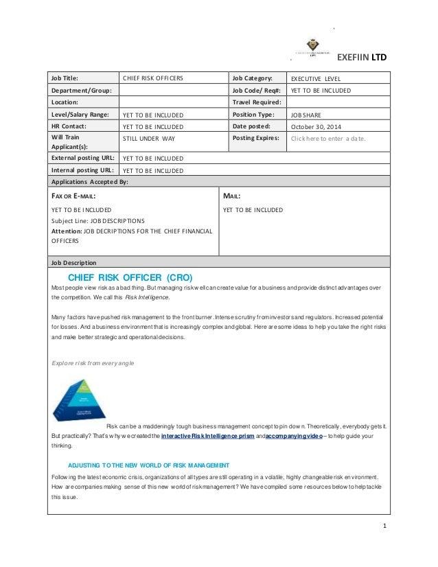 EXEFIIN LTD 1 Job Title: CHIEF RISK OFFICERS Job Category: EXECUTIVE LEVEL  Department/ ...