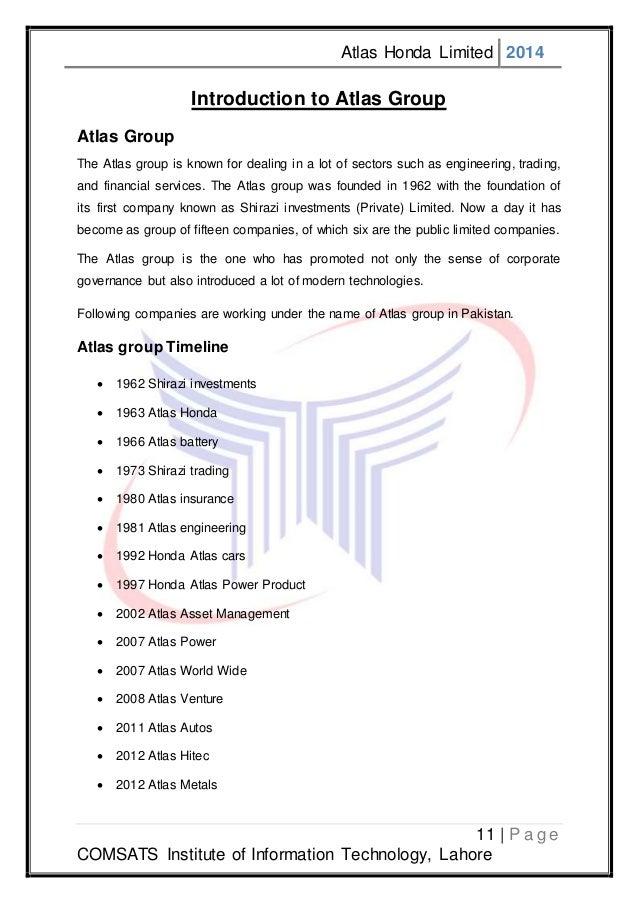 Internship Report Atlas Honda Limited