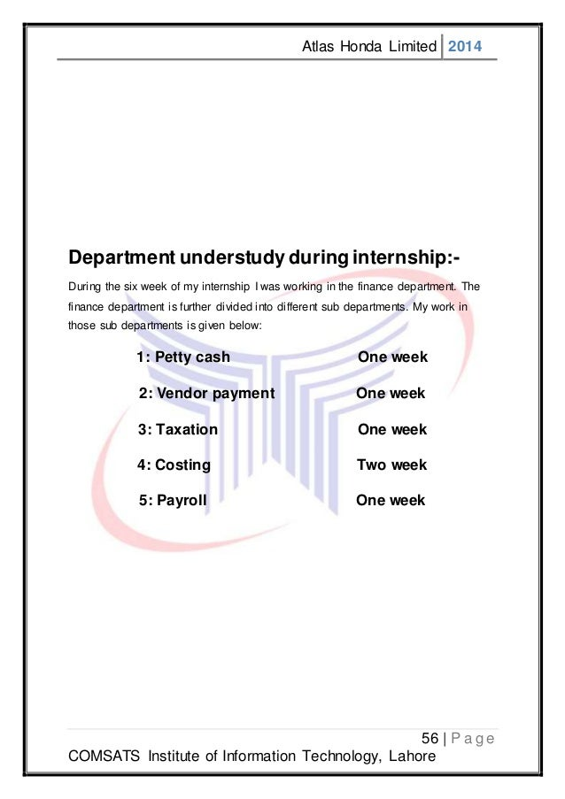 internship report on atlas honda ltd Presentation on atlas honda ltd company - free download as powerpoint  presentation  the audit committee receives reports from external auditors on  any.