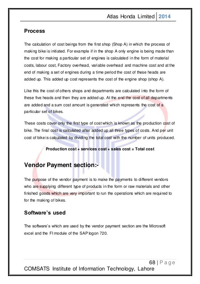 internship report on atlas honda ltd Internship report on atlas honda pakistan along with market research   dealerships as stated previously atlas's dealer where only limited to.