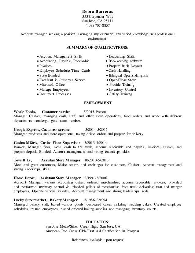 Debra Barreras 555 Carpentier Way San Jose, CA 95111 (408) 707-8857 Account manager seeking a position leveraging my exten...