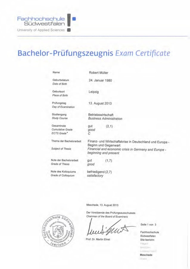 bachelor thesis in germany At public schools in germany reliability when taking up higher education and research jobs the universities usually demand high grades in diploma thesis or a.