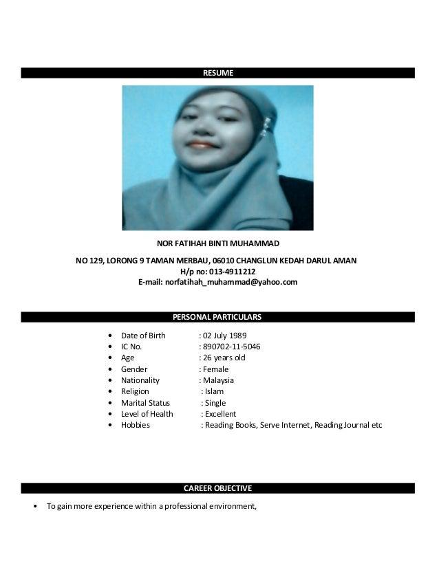 resume nor fatihah bt muhammad