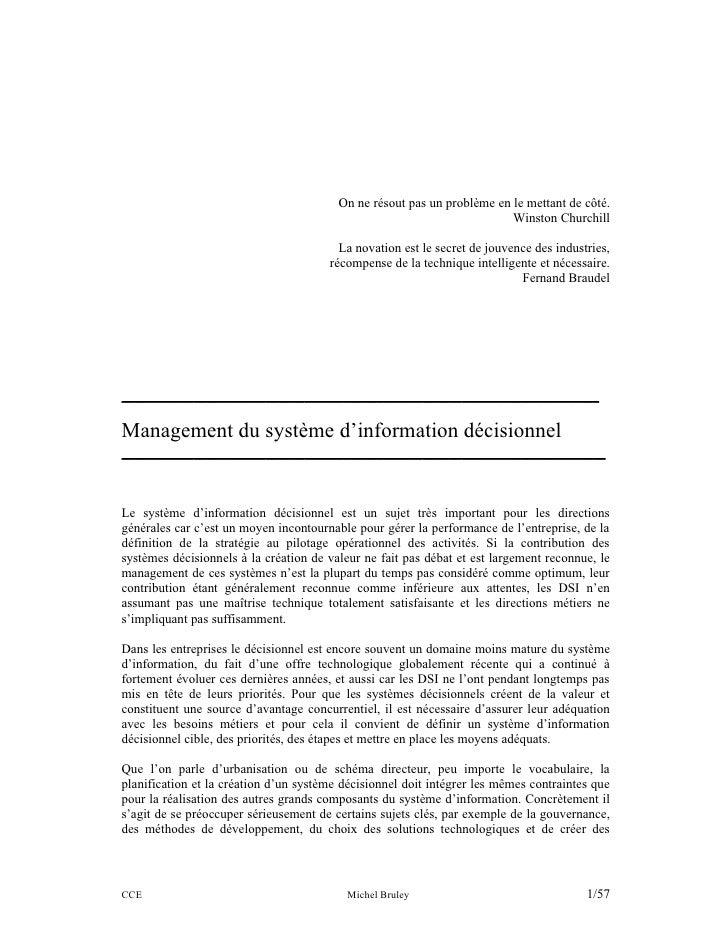 Management du Système d'Information Décisonnel