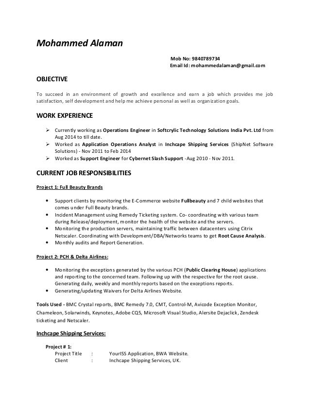 Alaman- Resume for Technical Support