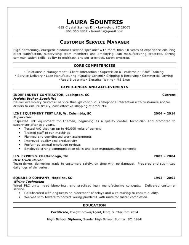 LAURA SOUNTRIS 655 Crystal Springs Dr.  Lexington, SC 29073 803.360.8817  lsountris@gmail.com CUSTOMER SERVICE MANAGER H...