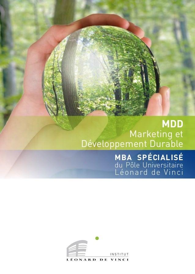 MBA SPÉCIALISÉ du Pôle Universitaire Léonard de Vinci MDD Marketing et Développement Durable