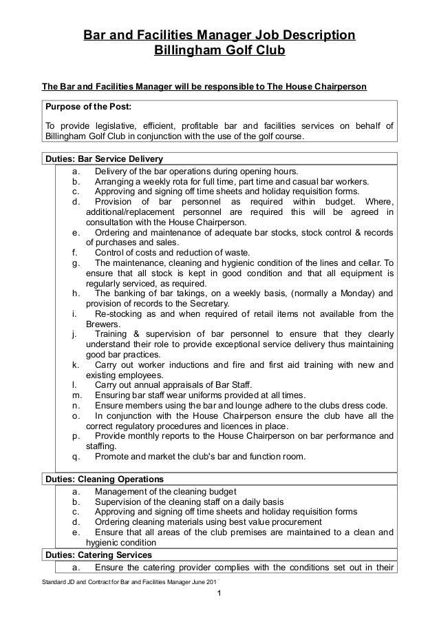 Bar And Facilities Manager Job Description Billingham Golf Club The Bar And Facilities  Manager Will Be ...  Facility Manager Job Description