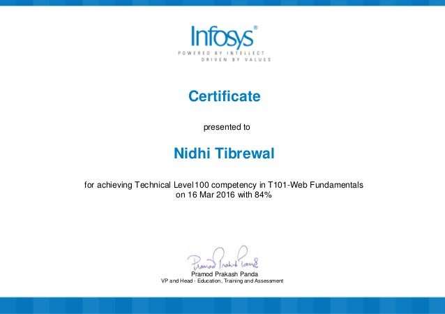 Certificate presented to Nidhi Tibrewal for achieving Technical Level 100 competency in T101-Web Fundamentals on 16 Mar 20...