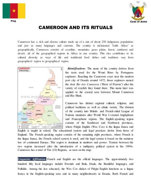 Cameroon and its rituals cameroon and its rituals cameroon has a rich and diverse culture made up of a mix publicscrutiny