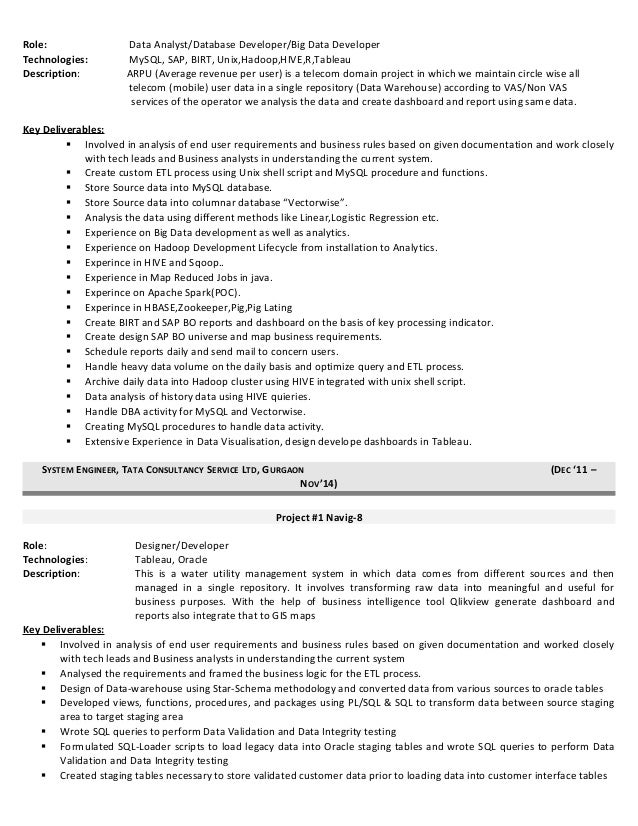 Tableau report developer resume