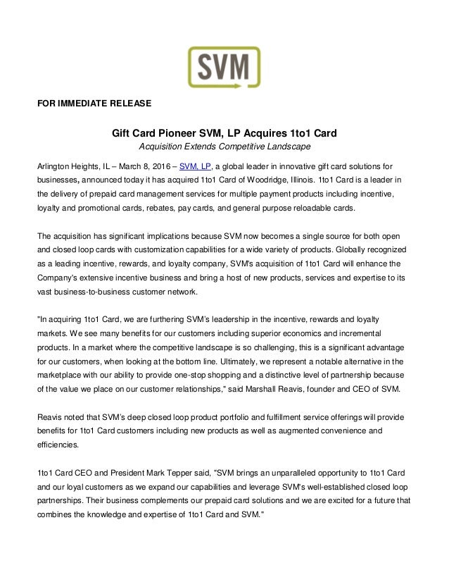 Gift card pioneer svmlp acquires 1to1 card for immediate release gift card pioneer svm lp acquires 1to1 card acquisition extends competitive landscape reheart Image collections