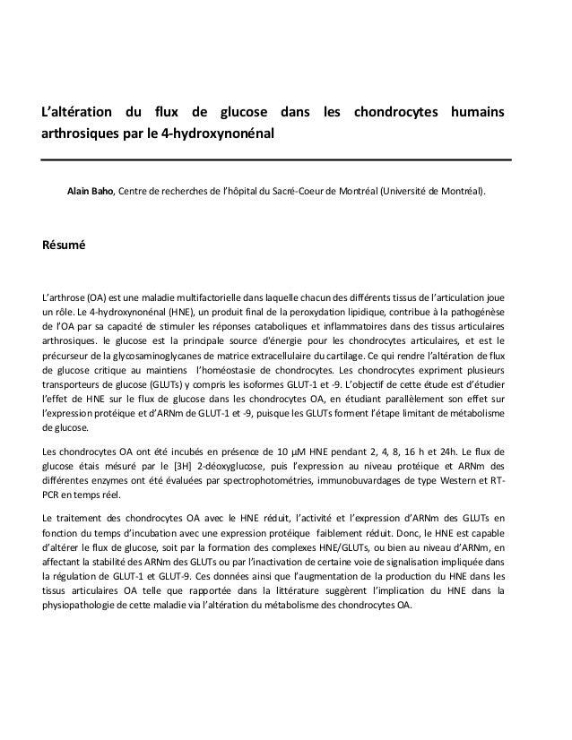 L'altération du flux de glucose dans les chondrocytes humains arthrosiques par le 4-hydroxynonénal Alain Baho, Centre de r...