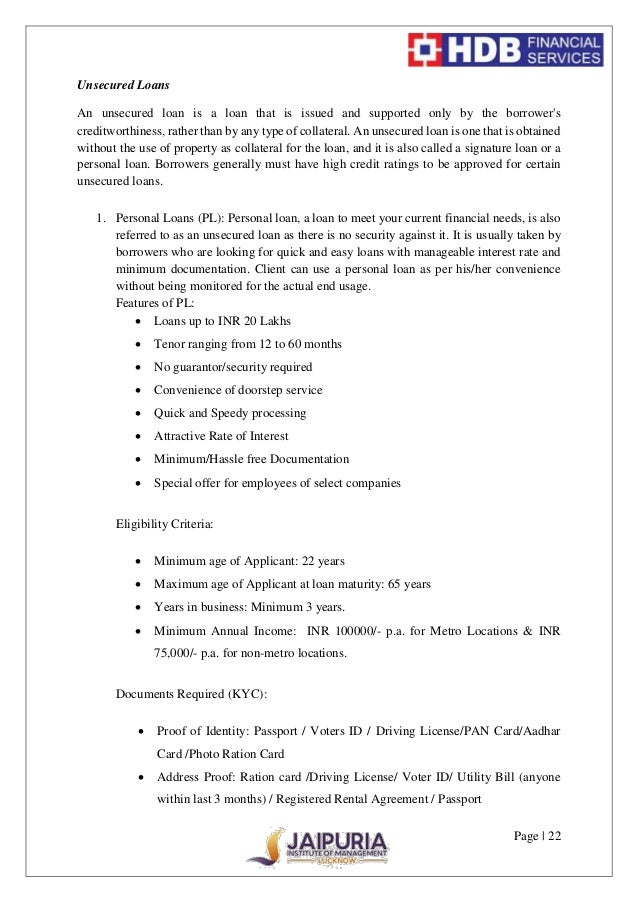 Hdb personal loan statement