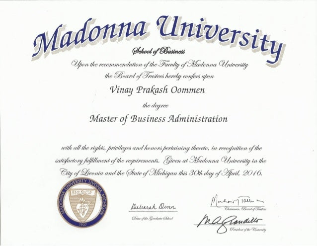 Madonna University MBA Degree