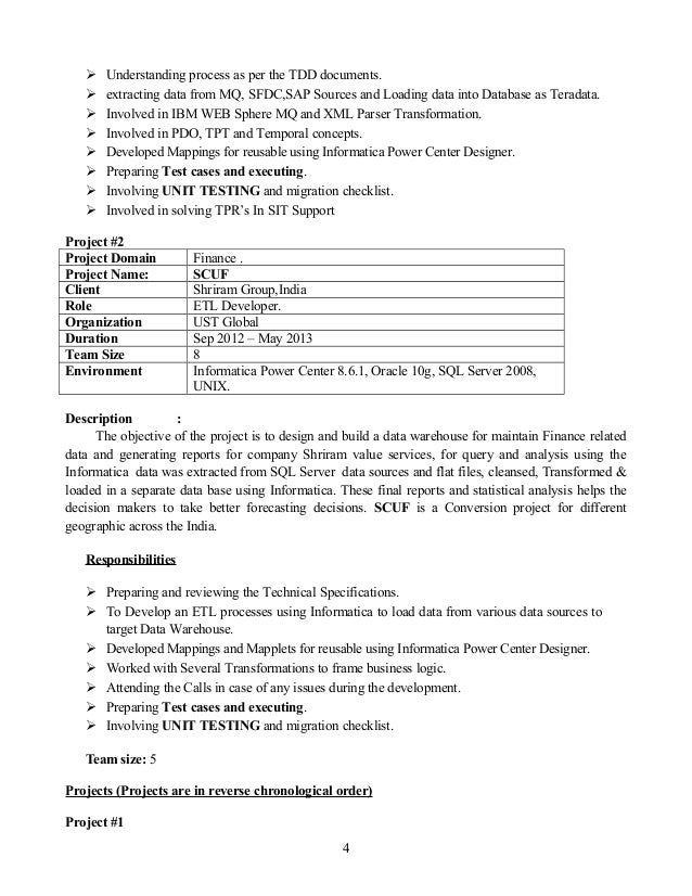 resume informatica idq 4 years of exp