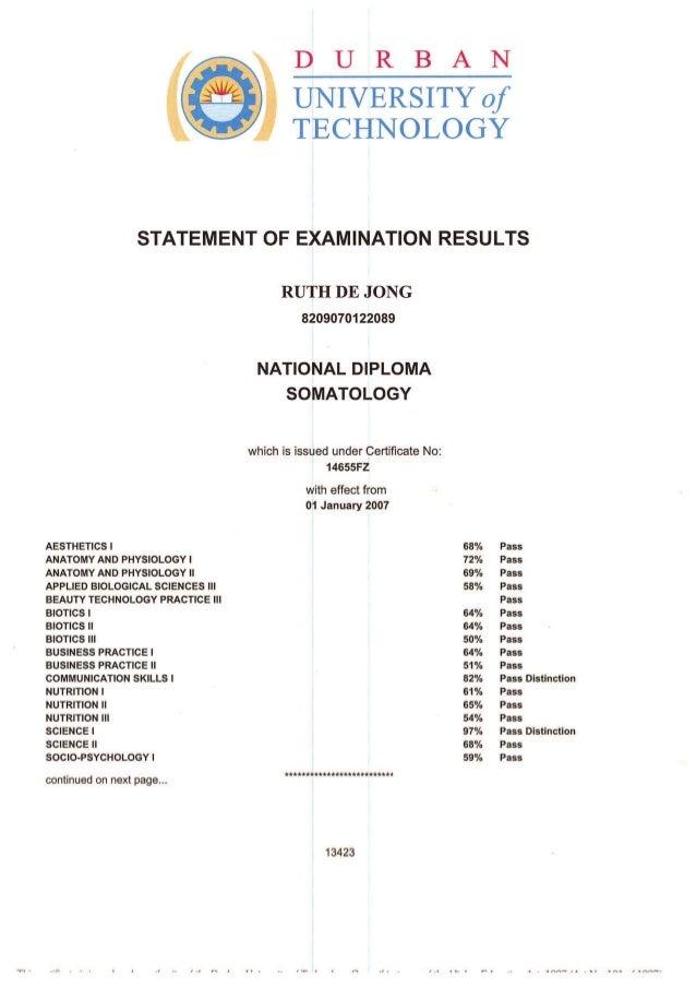 Statement of results - Somatology
