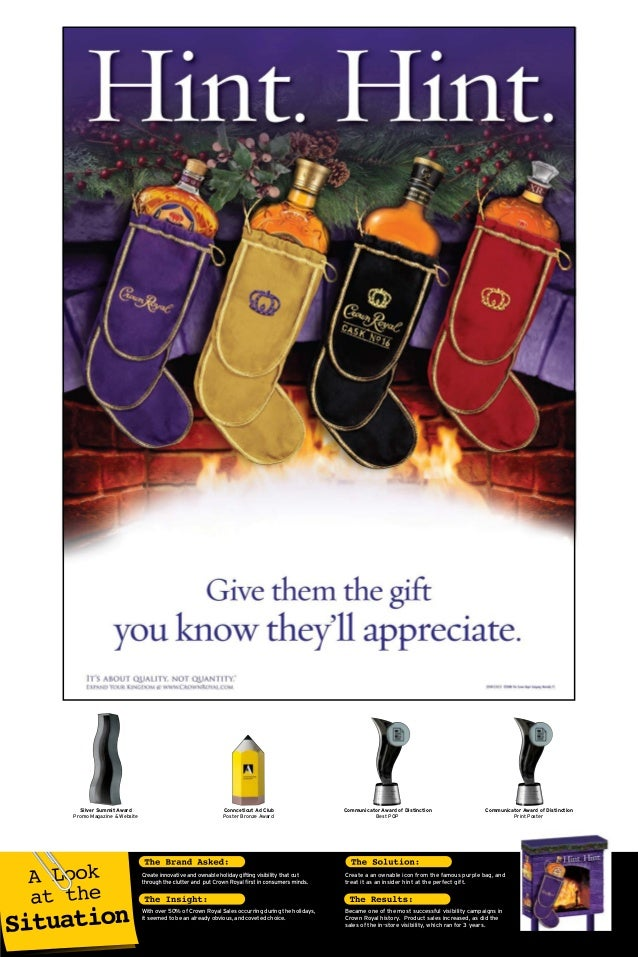 Create innovative and ownable holiday gifting visibility that cut Create a an ownable icon from the famous purple bag, and...