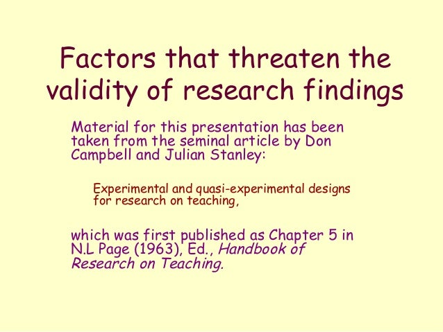 Examples of Threats to Internal Validity in Quantitative Research Work