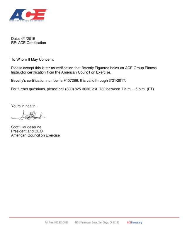 ACE GFI Certification Letter