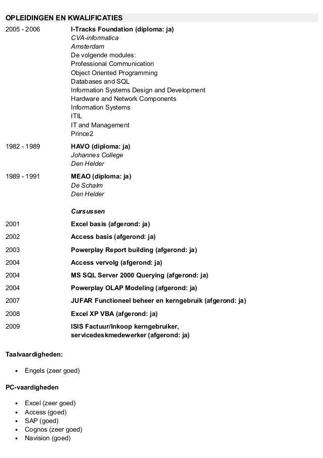 kwalificaties cv CV Nic Schutte