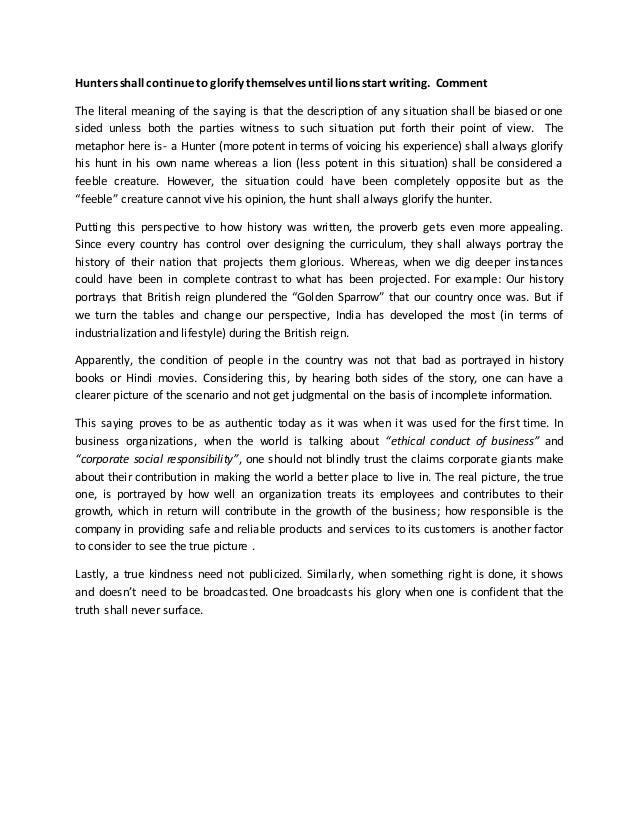 Essay glorifying meaning