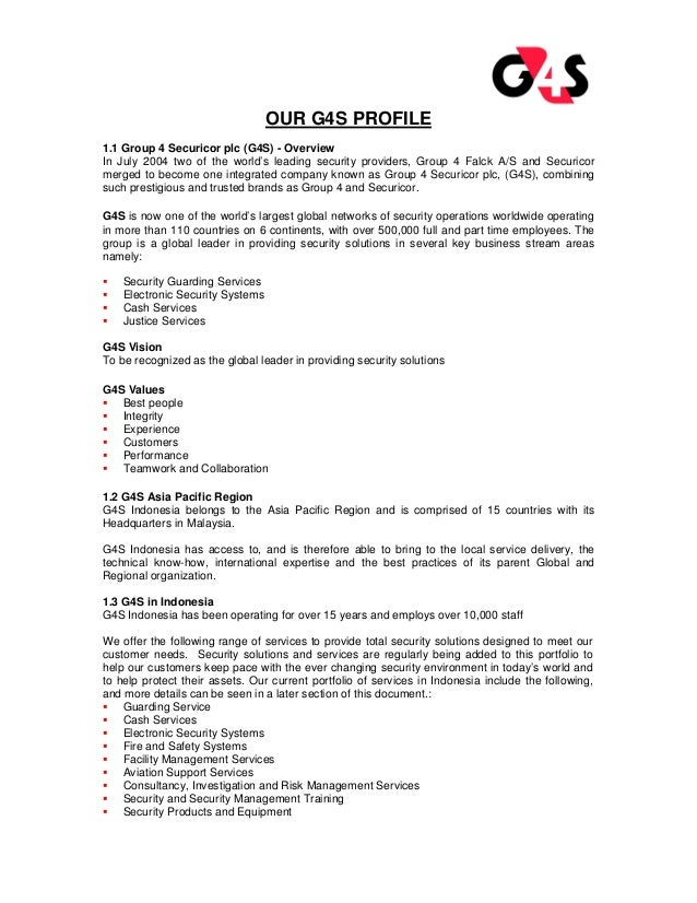 our g4s profile 11 group 4 securicor plc g4s overview in july 2004