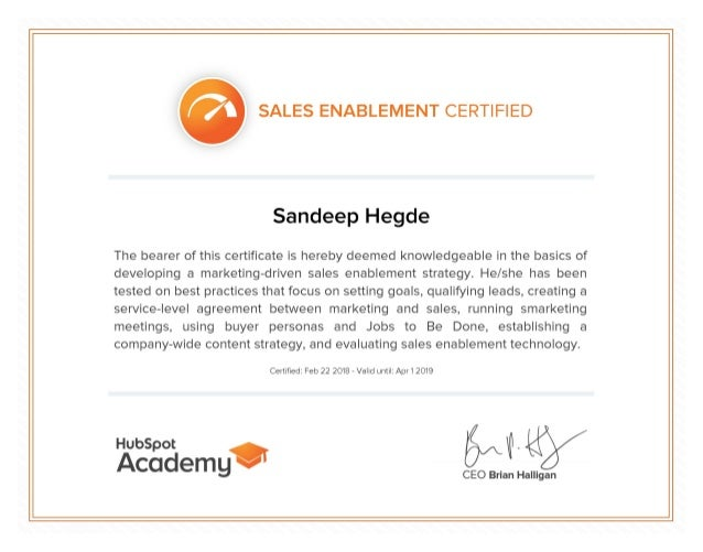 SALES ENABLEMENT CERTIFIED